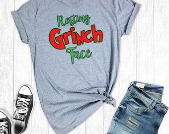 Resting Grinch Face Shirt, Christmas Shirts, Funny Christmas Shirt, Holiday Shirts, Funny Graphic Tee