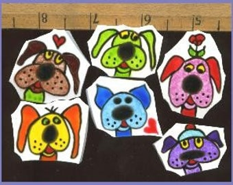 Mosaic Mosaics SILLY DOGS hp Handpainted China Plate Tiles BATCH 4