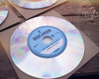 Unique Vintage Wedding Vinyl CD invites, wedding favors from the Bride & Groom.  Platinum // Blue label