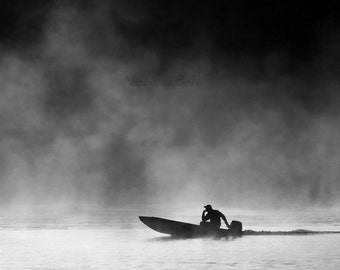 black and white photography, photography, boats, boat photography, fishing, lake house decor, boat print, lake house art