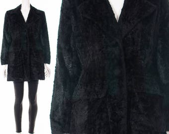 90's Black Plush Fur Coat Vegan Shag Jacket Clubkid Coat Y2K Gothic Coat Black Gothic Jacket Medium