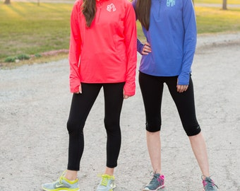 Monogram Quarter Zip Pullover | Dri Fit Pullover | Athletic Zip Up Sweatshirt | Heathered | Personalized Gift for Her | Best Friends