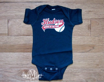 Personalized baseball rookie of the year, baby baseball bodysuit, 1st birthday boy, baseball 1st birthday