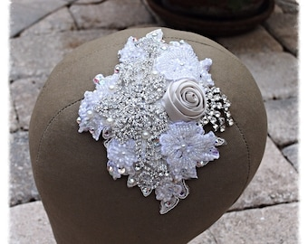 Ivory Rose Crystal Hand Sewn Beaded Wedding Bride Dancer Costume Hairpiece Comb