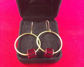 Gold Hoop Earrings with Red Bead Accent, 1.75 Inches Long with a 1 Inch Wide Hoop on 14kt Gold Filled Ear Wire