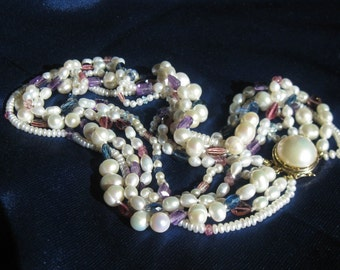 VENTE Multi brin mixte collier de perles, pierres précieuses colorées déclaration RAS de cou, Tourmaline rose améthyste, aigue-marine, collier de pierres précieuses