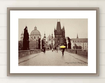 Prague Charles Bridge photo Prague travel print Yellow Umbrella picture Castle image Sepia travel photo oversize large wall art gift for her