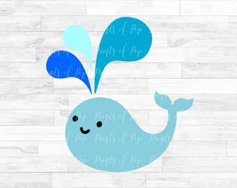 Cute Smiling Whale SVG DXF PNG Files, Cut Files, Digital Download