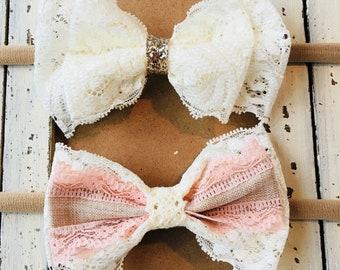 Lace Bow Headband Set, Baby Headbands, Nylon Headbands, Baby Bow, Toddler Headbands, Infant Headbands, Lace Bow, Ribbon Bow