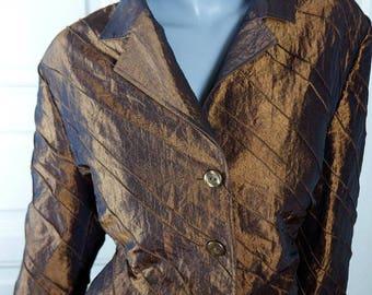 German Vintage Bronze Blazer, Burnished Gold Satin Women's Jacket, European Stylish Blazer: Size 16/18 US, Size 20/22 UK