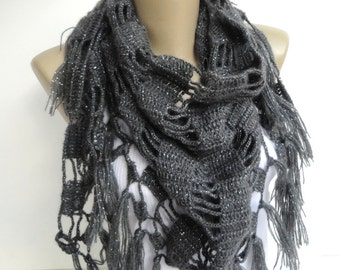 Clothing Gift ,Cowl Scarf ,Gray Crochet Scarf , Crochet Shawl ,Women Accessories ,Wrap Shawl ,Mom Gifts , Gift For Mom , Gifts For Her