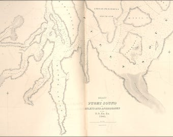 Poster, Many Sizes Available; Chart Map Of Puget Sound Its Inlets And Anchorages  1841
