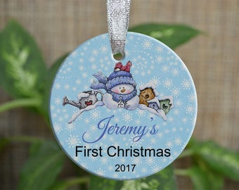 Personalized Christmas Ornament, Baby First Christmas ornament, Custom Ornament, Newborn baby gift, Snowman ornament, Christmas gift. o018
