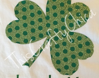 Personalized St. Patrick's Day short sleeve tshirt * shamrock * polka dot * St. Paddy's * glitter * girls
