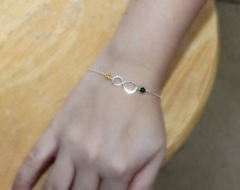 Infinity Bracelet with Birthstones - Personalized Gift - Sterling Silver - Made to Order