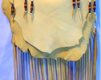 "Designer Leather Purse ""BUCKSKIN BEAUTY"" Fringe Handbag Artisan Hippie Retro Beaded Bag Handmade by Debbie Leather"