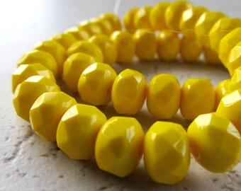 Czech Glass Beads 9 x 5mm Opaque Butter Yellow Faceted Rondelles - 25 Pieces