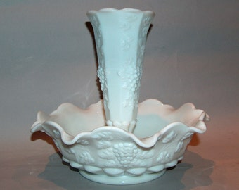 7956: Vintage Signed Westmoreland Epergne Paneled Grape White Milk Glass at Vintageway Furniture