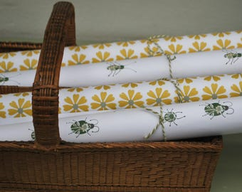 Green Bug & Yellow Sundrops Flower wrapping paper with matching tags