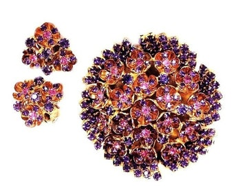 Weiss Large Amethyst Flower Set Brooch and Clip Earring