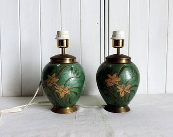 A pair of vintage painted brass, tole ware, table lamps with painted irises