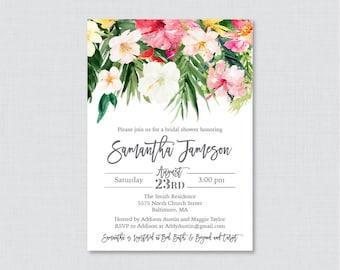 Tropical Bridal Shower Invitation Printable or Printed - Hawaiian Luau Bridal Invites, Palm Tree Leaf and Flower Bridal Invitation 0032