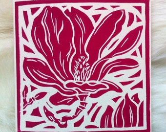 Magnolia Linocut Hand Printed on Recycled Card