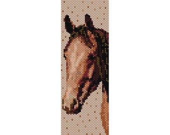 Brown Horse  3 Peyote Bead Pattern, Bracelet Cuff, Bookmark, Seed Beading Pattern Miyuki Delica Size 11 Beads - PDF Instant Download