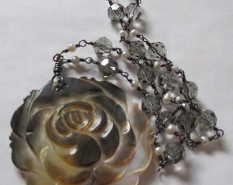 Swarovski Crystal and Mother of Pearl Rose Necklace, sterling silver, handmade