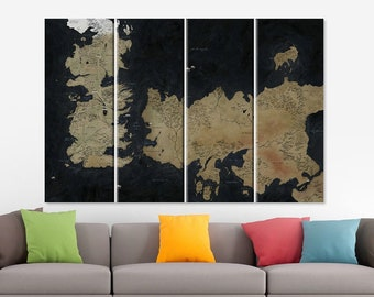 Game Of Thrones Map Game Of Thrones Art Seven Kingdoms Map Game of Thrones Old Westeros Map The Known World Map Ice and Fire Living Room Art