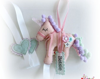 Made to order - Unicorn Hair Clip Bow Slide Holder Tidy - personalised with a name tag - ANY COLOURS