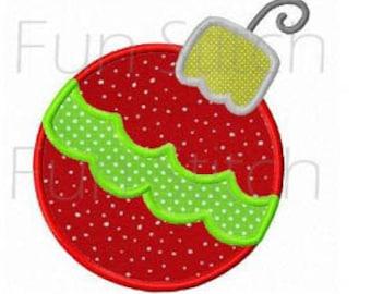 Christmas ornament applique machine embroidery design