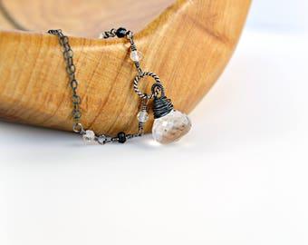 Clear Quartz Pendant Necklace, Dark Oxidized Sterling Silver Necklace, Black Necklace, Double Chain Necklace, Clear Stone Necklace