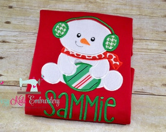Snowman applique shirt girl kid child toddler infant baby custom embroidery monogram name personalized