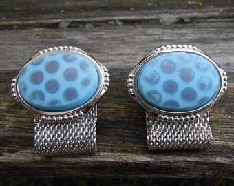 Vintage Blue Polkadot Wrap Around Cuff Links. 1990s. Gift for Men, Dad, Grad, Groom, Groomsmen, Husband, Brother, Son