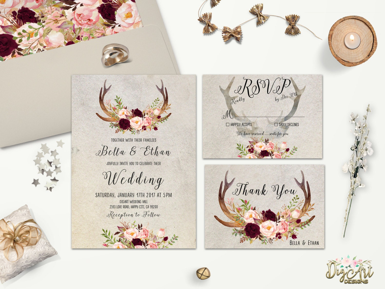 Rustic Wedding Invitation Printable Floral Antler Wedding