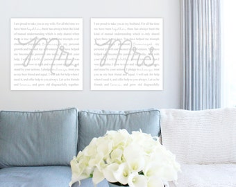 WEDDING VOWS CANVAS Art - His and Hers Vows - Wedding Anniversary Present - Many Sizes and Custom Colors!