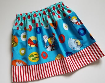 5t Girls Skirt Dr Seuss Skirt with Cat in the Hat Three Tier Skirt with Grinch Seuss Day Outfit size 5t Unique One of a Kind