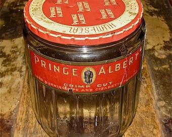 Vintage Prince Albert Tobacco Glass Jar with Original Label / Cigarette, Cigar,Tobacco, Humidor