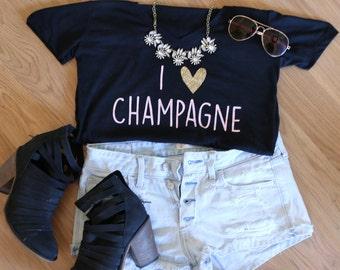 I love Champagne T-shirt- Champagne T-shirt- V-Neck- Graphic Tee- Women's T-Shirt- Women's Clothing-Cute Shirts- Champagne- Brunch Shirt