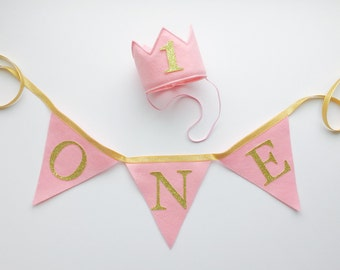 Pink Felt Gold Glitter Mini Birthday Crown Headband AND one Banner, Girl, Princess, Smash Cake Photo Prop, Baby Party