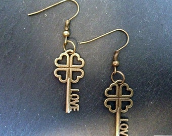 """Steampunk earrings with copper key love with lettering """"Love"""" + Hearts-antique vintage used-earrings, hanging earring"""