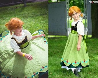 Little Anna Frozen Elza Cosplay Costume Dress Child Princess