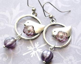 Antique Silver Bird Dangle Earrings, Bird Earrings, Bird with Purple Flowers