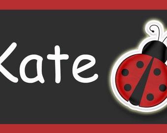 ladybug backpack tag - backpack tags , lunchbox  tags, luggage tags -- ladybug tag