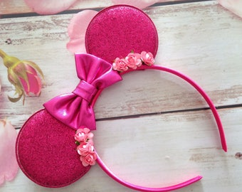 Pink bow and flower mouse ears headband