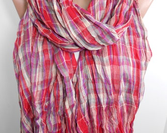 Plaid Scarf Red Scarf Shawl Flannel Scarf   Winter Scarf  Fashion Scarf    Gift   Holiday Gift Gift For Women Gift For Her Gift For Mom