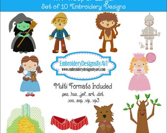 Wizard of Oz Cartoon Machine Embroidery Designs - Set of 10 Instant Download Sale