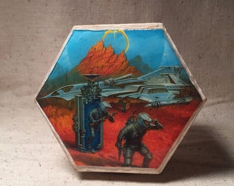 Sci fi science fiction wooden trinket stash box container