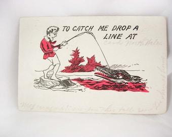 Vintage Cartoon Postcard Drop Me a Line 1912 Alligator One cent stamp used Funnies